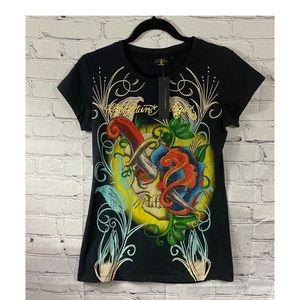 Christian Audigier Graphic Embellished T-Shirt L